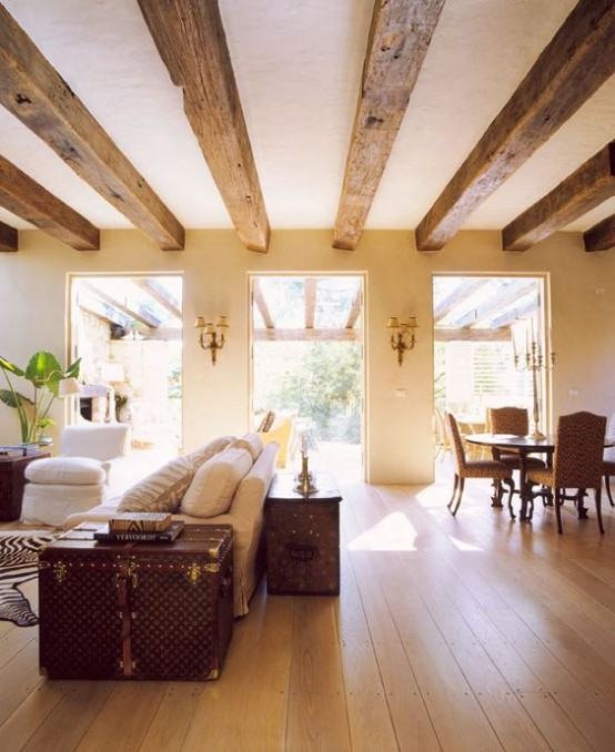 36 Cozy Living Room Designs With Exposed Wooden Beams - DigsDi