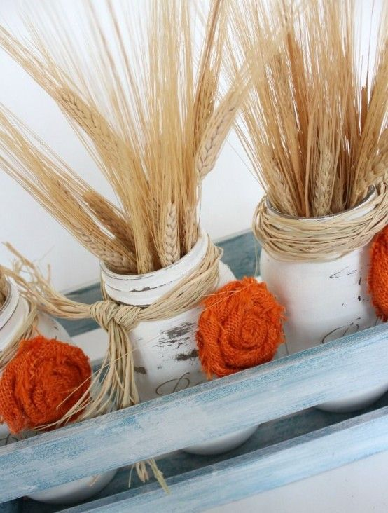 24 Warming And Cozy Wheat Decorations For Fall   Fall mason jar .