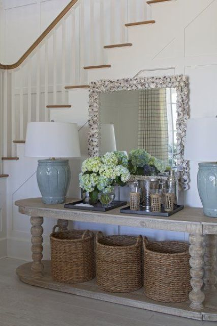 37 Cozy Wicker Touches For Your Home Décor   Entryway console .