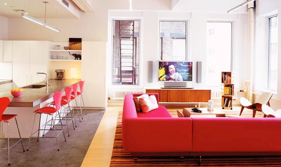 Tribeca Lofts - Playing With Pink Color in Apartment Interior .