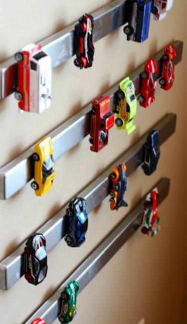 Wall Decorating with Toy Cars, Kids Storage and Organization Ideas .