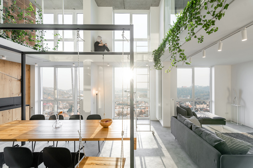 o. m. shumelda develops apartment around double-height central .
