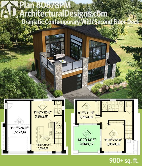 Plan 80878PM: Dramatic Contemporary with Second Floor Deck in 2020 .