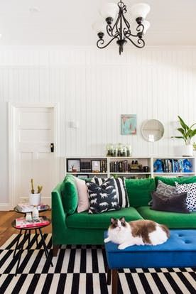 Cats and Bright Colors in an Eclectic Modern Country Home   Living .
