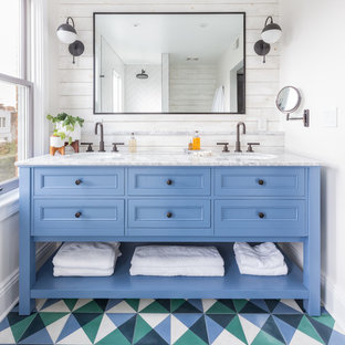 75 Beautiful Eclectic Bathroom With Blue Cabinets Pictures & Ideas .