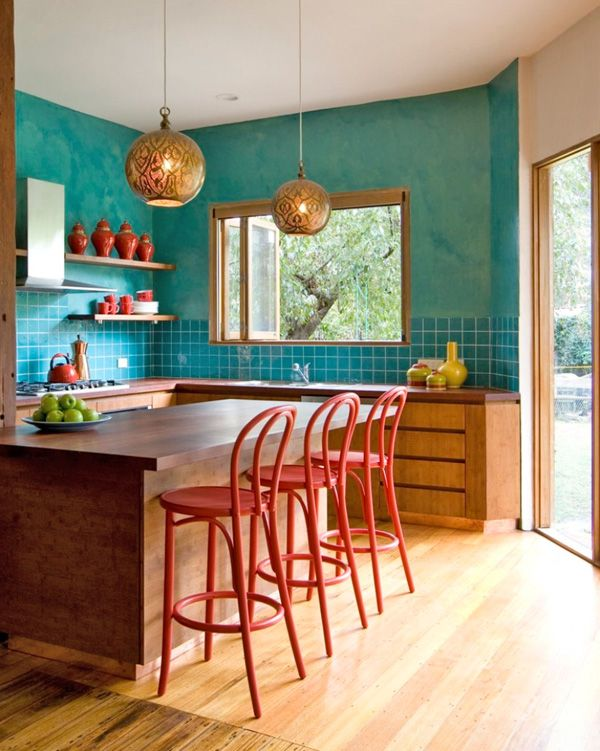 31 Bright and colorful kitchen design inspirations   Kitchen .