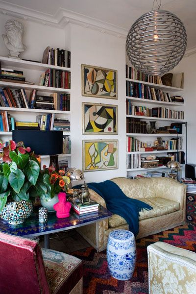 Quirky eclectic living room loaded with books | Interior, Home .