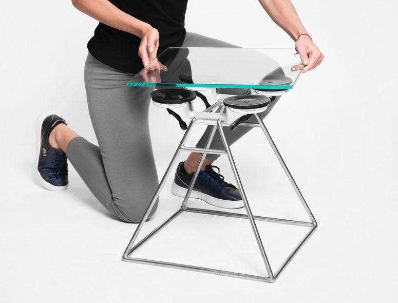 Edgy Suction Stool Of Glass And Metal - DigsDi