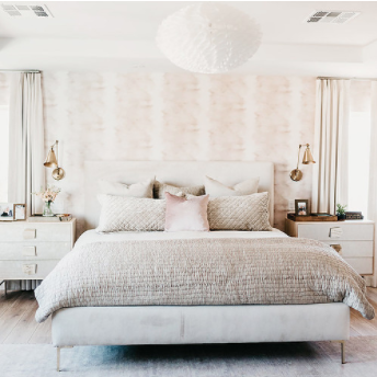 An elegant, sophisticated, peaceful master bedroom. Yes, please .