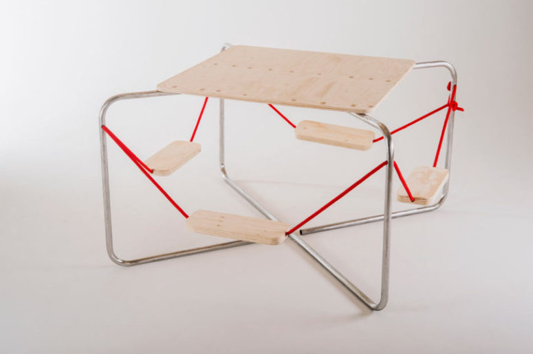 Equilibrium Picnic Table Wooden Surfaces Red Ropes Metal Frame A .