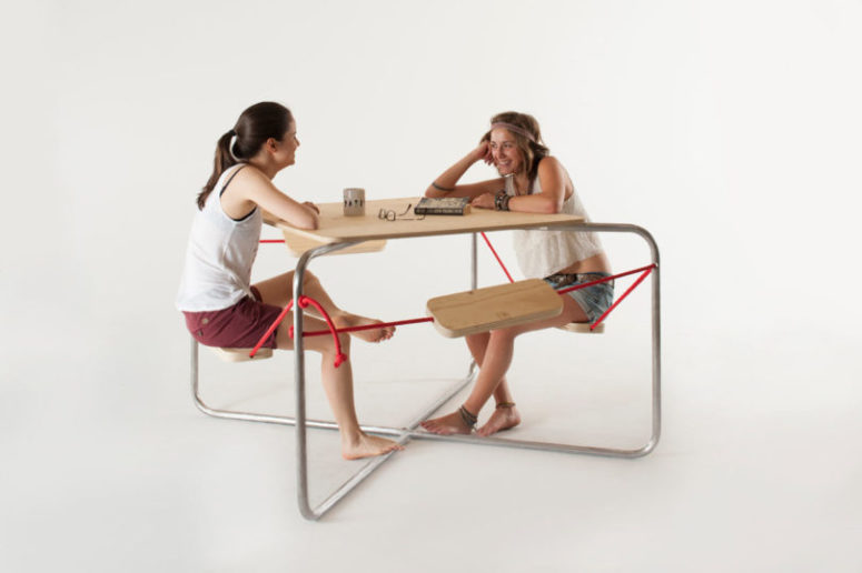 Equilibrium Picnic Table Metal Frame Red Ropes Wooden Surfaces .