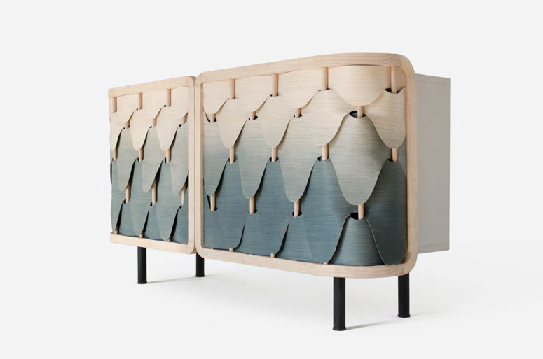 Gradient Alato Cabinet Inspired By Feathers - DigsDi