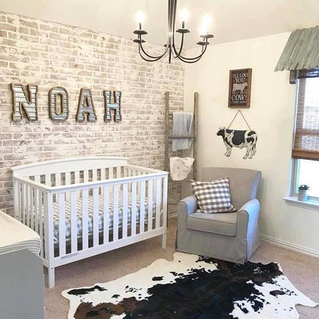 This sweet farmhouse-inspired nursery is just waiting on its baby .