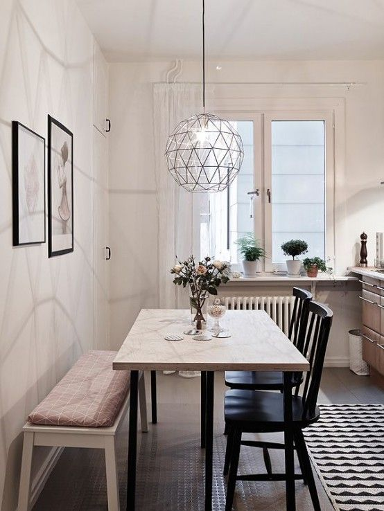 Pretty modern and clean, black and white dining area // 24 .