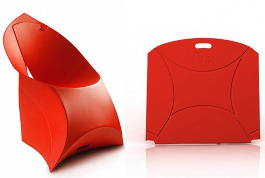 21 Origami Influenced Flux Chairs Can Be Stacked to a Height of .