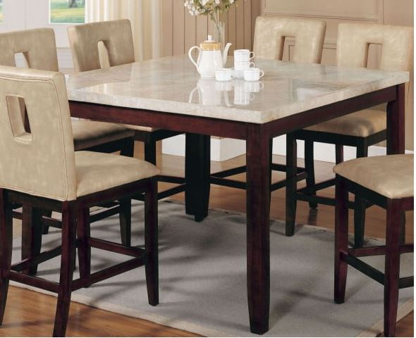 Britney Counter Height Table in White Marble Walnut Acme Furniture .