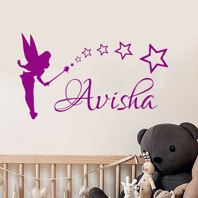 Little fairy Wall Stickers Girls Personalized Name Wall Decals .