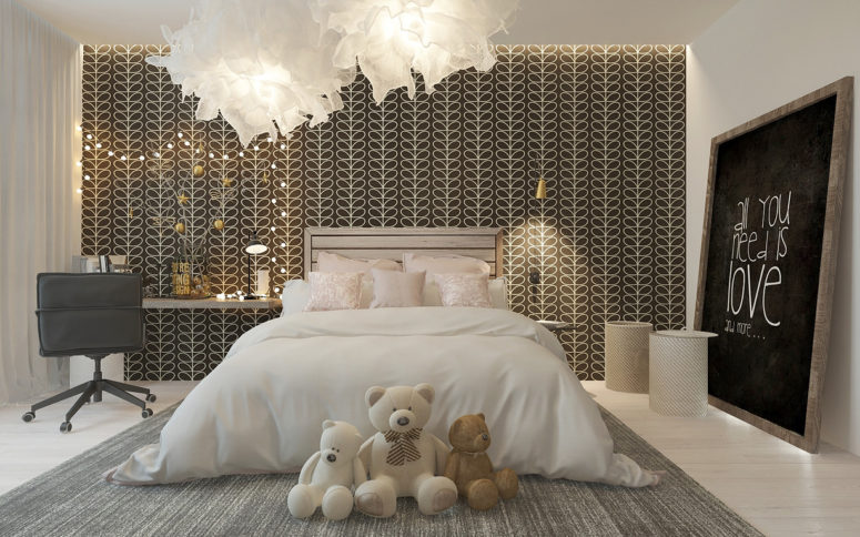 Stylish Girl's Room With A Patterned Headboard Wall - DigsDi