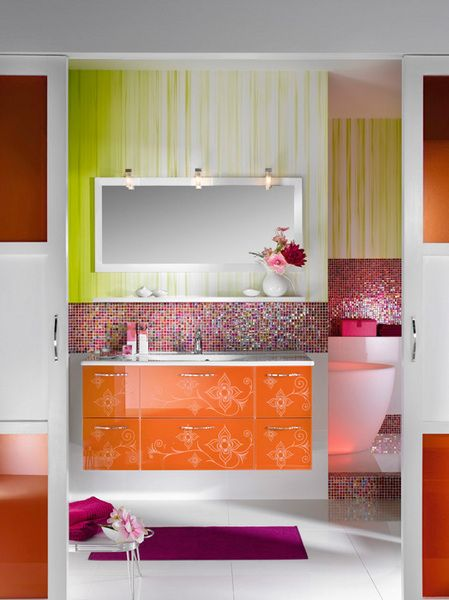 Glamour Bathroom Furniture and Designs for Girls from Delpha .