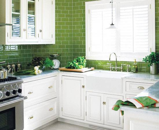 Simple Green And White Kitchen Placement - Gabe & Jenny Hom