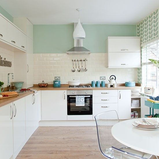 Traditional kitchen with pastel green walls   Kitchen design, Home .