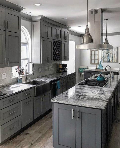 20 Fabulous Kitchens Featuring Grey Kitchen Cabinets | The Happy .