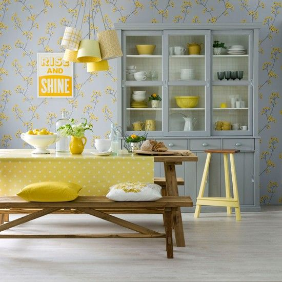 Lemon and dove grey dining room   Dining room decorating ideas .