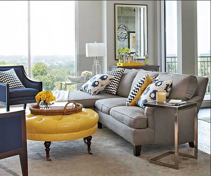 Gray and yellow living room with grey wall paint color plus wall .