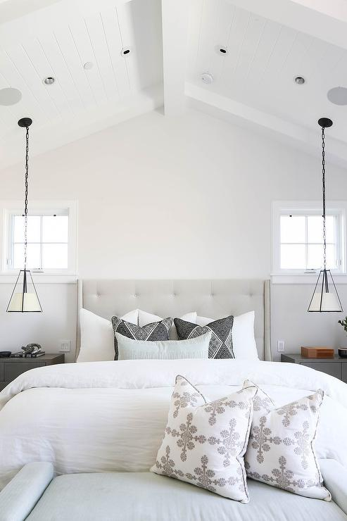 Hanging Shade Lights Over Nightstands - Transitional - Bedro