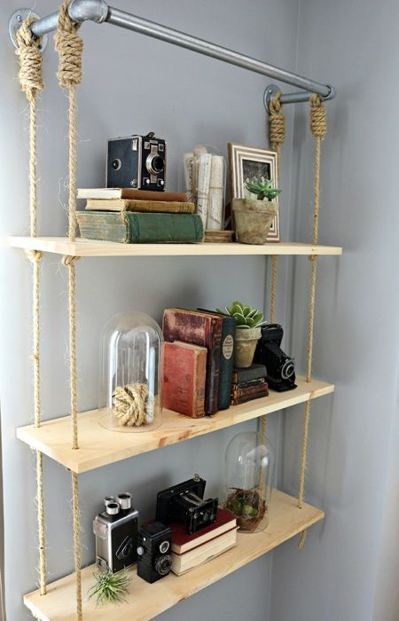 23 Awesome DIY Hanging Shelves to Improve Your Home | Diy wood .
