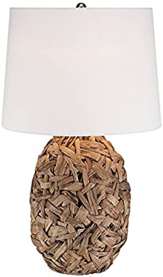 Nantucket Tropical Table Lamp Natural Seagrass White Drum Shade .