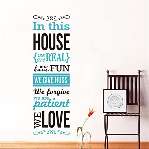 Amazon.com: 2 Color Mix Family Rules Quotes Wall Decal Saying .