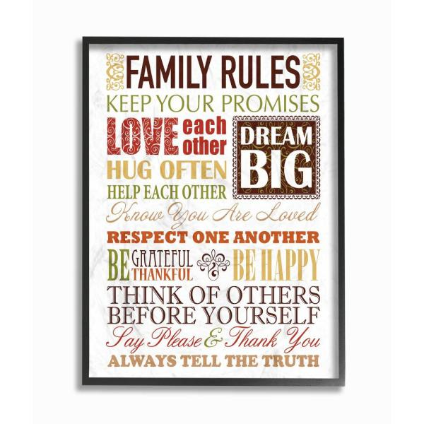 """The Stupell Home Decor Collection 11 in. x 14 in. """"Family Rules ."""