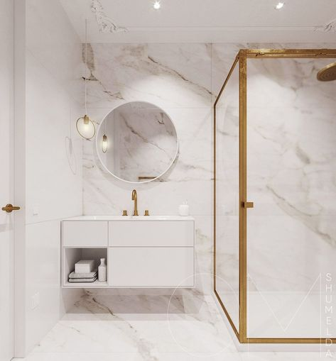 3 Luxe Home Interiors With White Marble & Gold Accents .