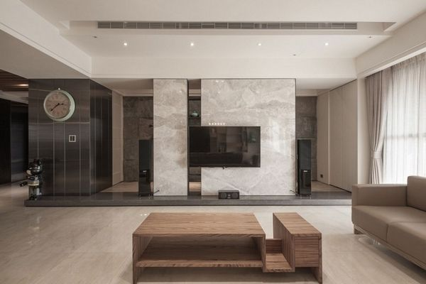 Marble floor and marble tile decor as an accent in the interior .