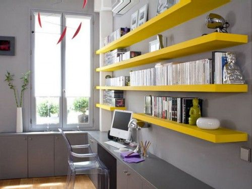 51 Cool Storage Idea For A Home Office | Shelterness | Yellow home .