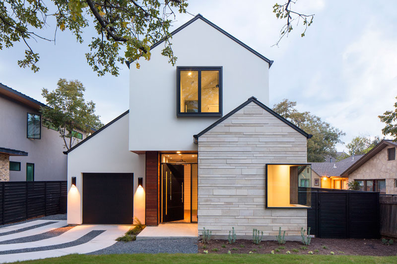 A Contemporary House With Peaked Roofs Arrives On This Street In .