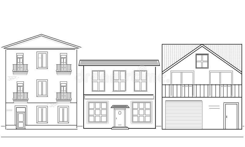 Three Houses Of Different Heights Stock Illustration .