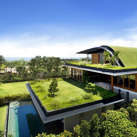 Here's a house with gardens on all three levels on Santosa Island .