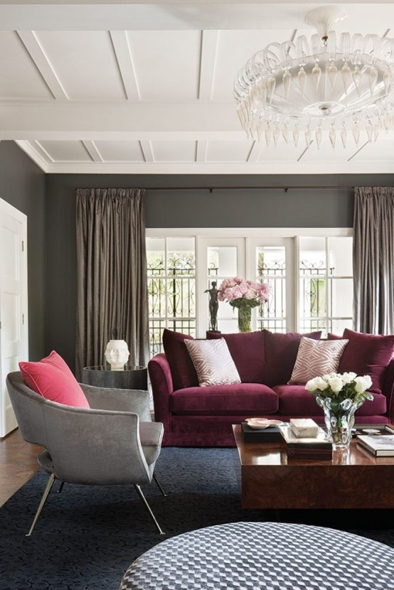 26 Ideas To Accentuate Your Living Room With Marsala - DigsDi