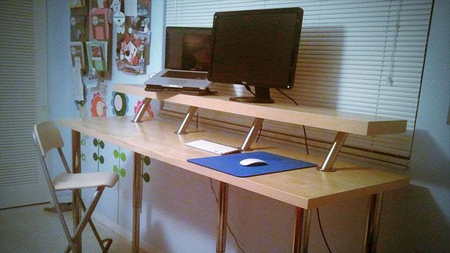 Build a DIY Wide, Adjustable Height IKEA Standing Desk on the .