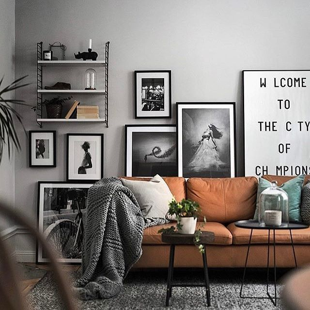 Different ways to use the Ikea Stockholm leather sofa. Styled by .