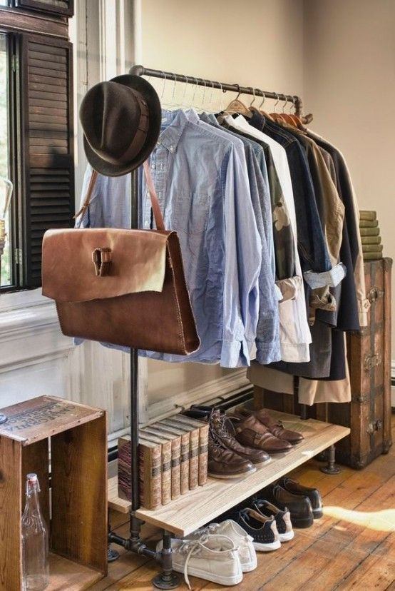 Industrial Eye-Candy: 40 Pipes Home Decor Ideas   Clothing rack .