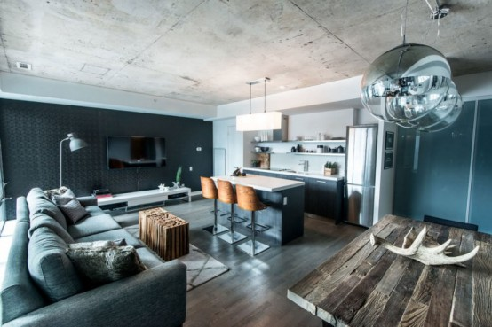 Industrial Loft Design With Natural Rough Wood Elements - DigsDi