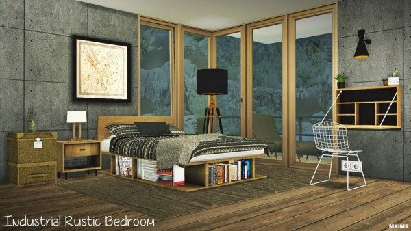 MXIMS: Industrial rustic bedroom   Sims 4 cc furniture living .
