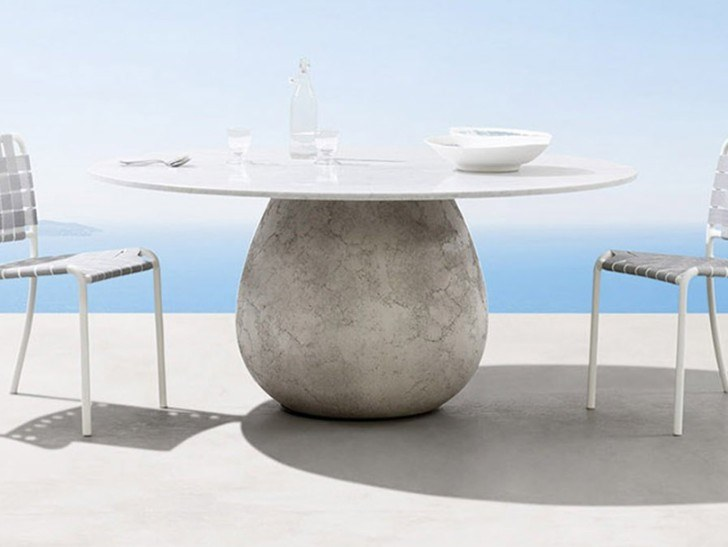 Round cement table with Carrara marble top INOUT 834 By Gervaso