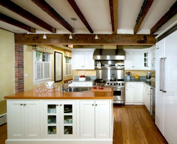 Rustic And Inviting Kitchens Featuring Exposed Ceiling Beams .