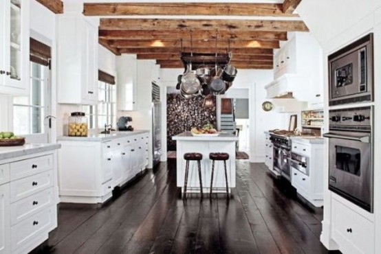 36 Inviting Kitchen Designs With Exposed Wooden Beams - DigsDi