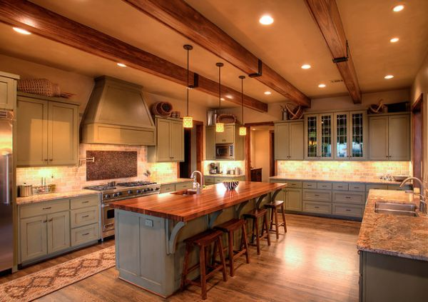 Rustic And Inviting Kitchens Featuring Exposed Ceiling Bea