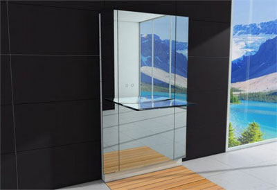 Modern Large Bathroom Mirror With MGlass Sink by Hoes